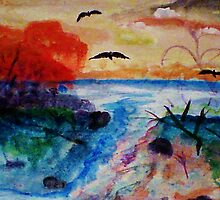 Fall on the waters separtion, watercolor by Anna  Lewis