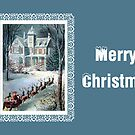 Merry Christmas Victorian House Greeting Card by valleygirl