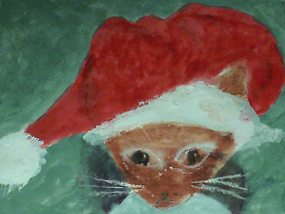 Gabbie is ready for Christmas, waterolor by Anna  Lewis, blind artist