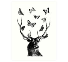 The Stag and Butterflies | Black and White Art Print