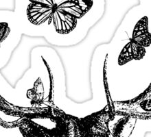 The Stag & Butterflies | Black & White Sticker