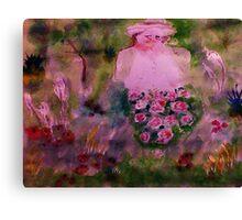In her garden #2, watercolor Canvas Print