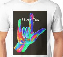 American Sign Language I LOVE YOU on Black Unisex T-Shirt