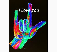American Sign Language I LOVE YOU on Black Unisex T-Shirt