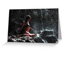Knowledge. Anna at Eureka Waterfalls. Mauritius Greeting Card