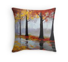 Wet Fall Day Throw Pillow