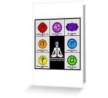 Yoga Reiki Seven Chakras Symbols chart Greeting Card
