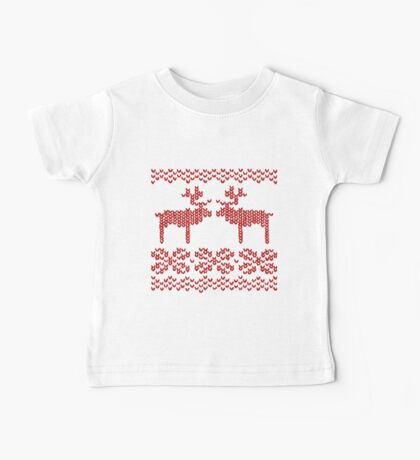 Christmas Jumper Red on White Baby Tee