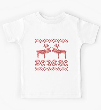 Christmas Jumper Red on White Kids Tee