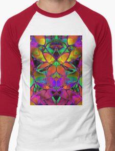 Floral Fractal Art Men's Baseball ¾ T-Shirt