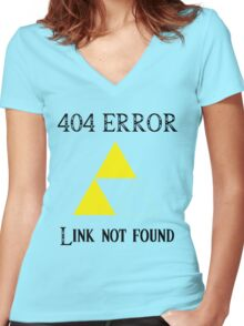 404 - Link not found (A) Women's Fitted V-Neck T-Shirt