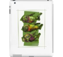 A Painting of Three Ferocious Looking Fishes iPad Case/Skin