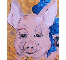 Blue Ribbon Pig Photographic Print