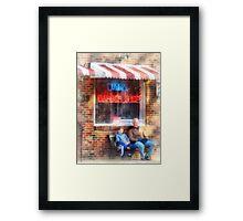 Neighborhood Barber Shop Framed Print