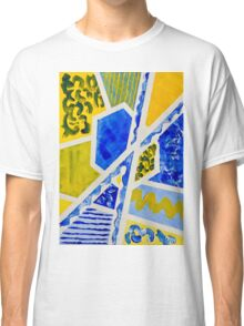 Geometric Blue and Yellow Abstract Acrylic Painting Classic T-Shirt