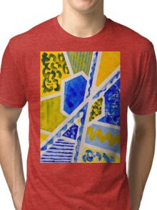 Geometric Blue and Yellow Abstract Acrylic Painting Tri-blend T-Shirt