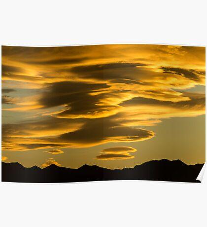 Flying Saucer Sunset Poster