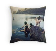 Upon the rock of silent songs Throw Pillow