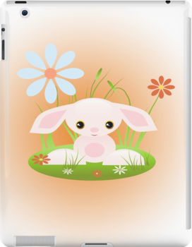 Little Pink Baby Bunny With Flowers by ruxique