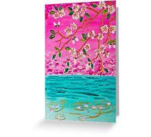 Cherry Blossom Branch Sakura Water Ripples Acrylic Painting Greeting Card