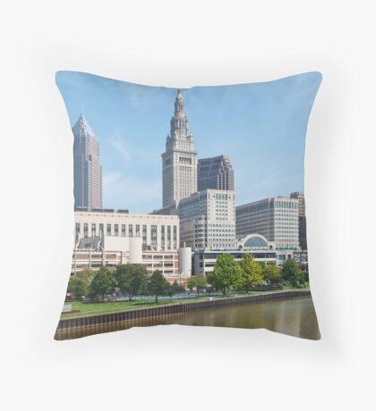 Tower City Skyline Throw Pillow
