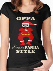★ټOppa Santa-Panda Style Hilarious Clothing & Stickersټ★ Women's Fitted Scoop T-Shirt