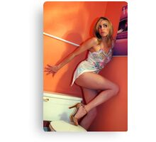 Portrait of beautiful blonde girl posing at the bathroom Canvas Print