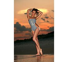 Beautiful brunette posing sexy at the beach during golden sunset time Photographic Print