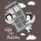 The Angels have the Phone Box - Version 3 BW (for dark tees) by lemontee