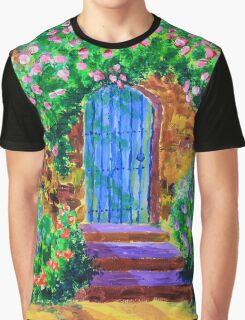 Blue Wooden Door to Secret Rose Garden Graphic T-Shirt