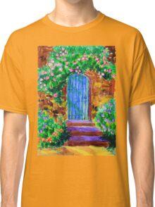 Blue Wooden Door to Secret Rose Garden Classic T-Shirt