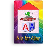 A is for Alien Play Brick Canvas Print