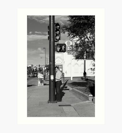 Man at Stop Light Art Print