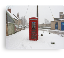 Telephone box in the Snow Canvas Print