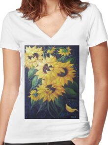 Dancing Sunflowers Women's Fitted V-Neck T-Shirt