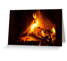 open log fire Greeting Card