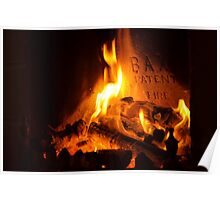 open log fire Poster