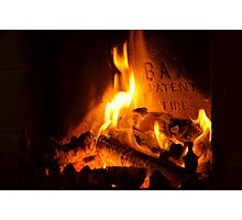 open log fire Photographic Print