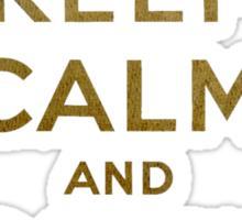 Keep Calm and Carry One Grunge Dark Brown Background Sticker