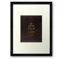 Keep Calm and Carry One Grunge Dark Brown Background Framed Print