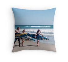 three surfers Throw Pillow