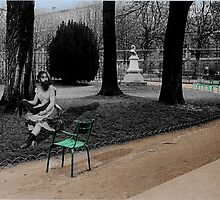 the bearded lady resting in the les jardin de luxembourg by Loui  Jover