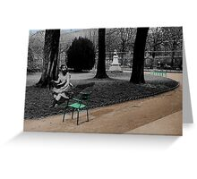 the bearded lady resting in the les jardin de luxembourg Greeting Card