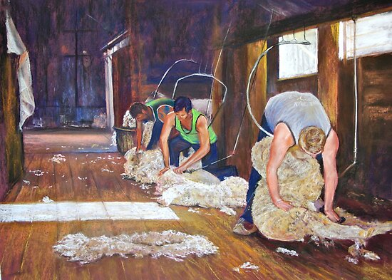 Shearing at Tarcombe by Lynda Robinson