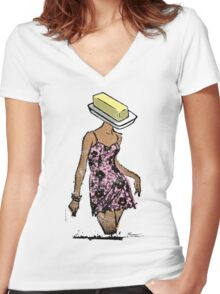 Butterface - American Oddities #4 Women's Fitted V-Neck T-Shirt