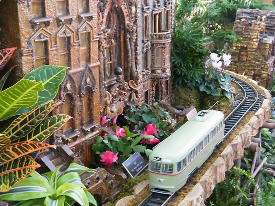 Model Streetcar, Model Building, New York Botanical Garden Holiday Train Show, Bronx, New York by lenspiro