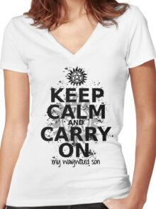 Keep Calm - SPN Style Women's Fitted V-Neck T-Shirt