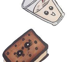 ice cream sandwich and milk by wickedhart13