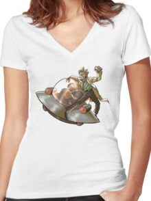 Rick 'n' Morty (transparent) Women's Fitted V-Neck T-Shirt