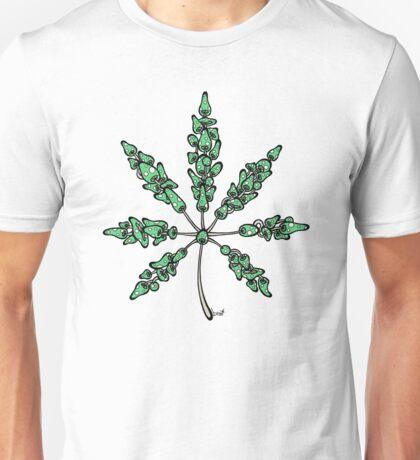 Marijuana Leaf Made of Mushrooms (green version) Unisex T-Shirt